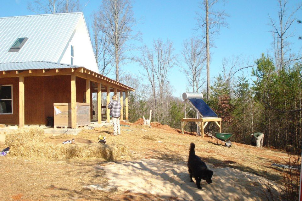 Solar panels for off grid home built by friends in