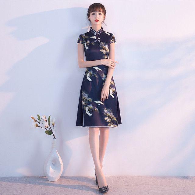 fb31e56105334 ネイビー チャイナ風ドレス 商品番号C190301