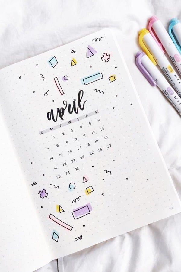 Bullet Journal Monthly Cover Ideas For April 2020 - Crazy Laura