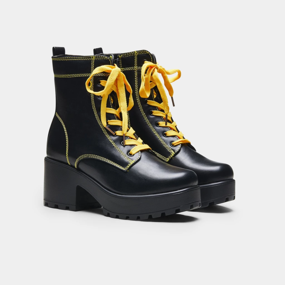 Kitana Yellow Laced Boots Koi Boots Lace Boots Black Platform Boots