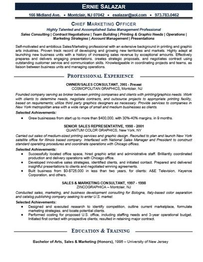 Chief Marketing Officer Resume  HttpGetresumetemplateInfo