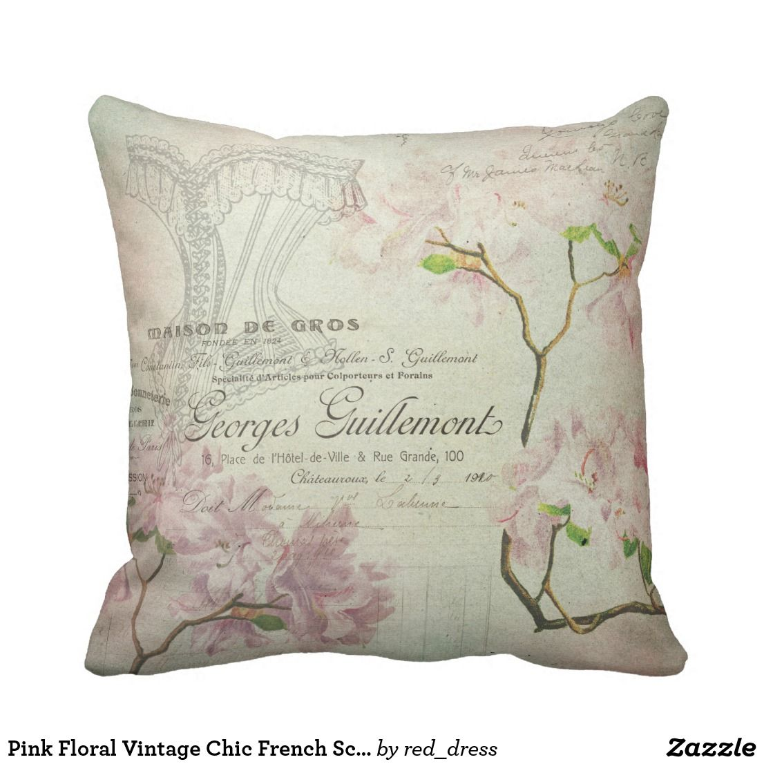 Pink Fl Vintage Chic French Script Home Decor Throw Pillow
