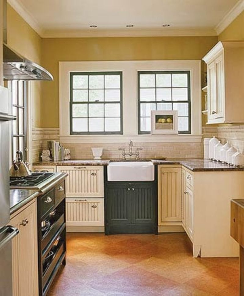 Small Black And Cream Cottage Kitchen With Italian Details