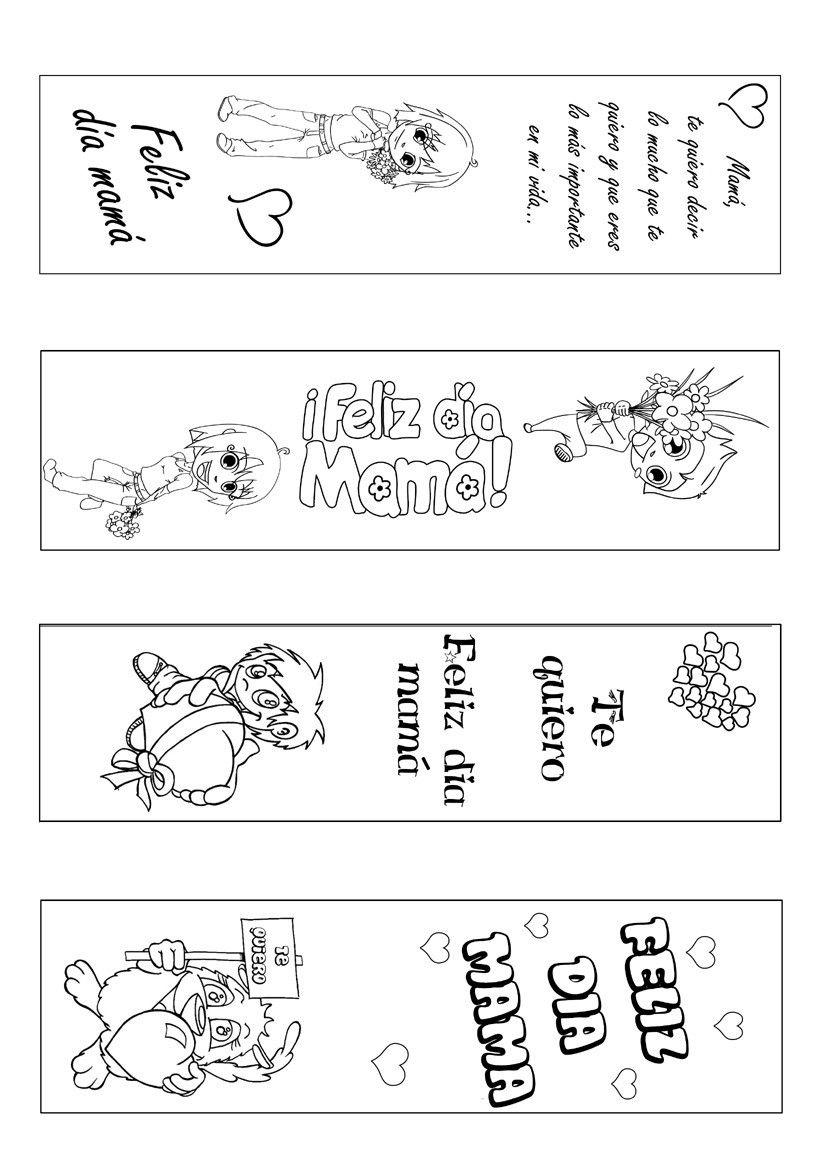 Manualidad de un marcapaginas para el dia de la madre para imprimir colorear recortar y regalar