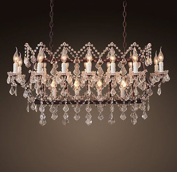 19th C Rococo Iron Clear Crystal 38 25 Rectangular Chandelier Rustic