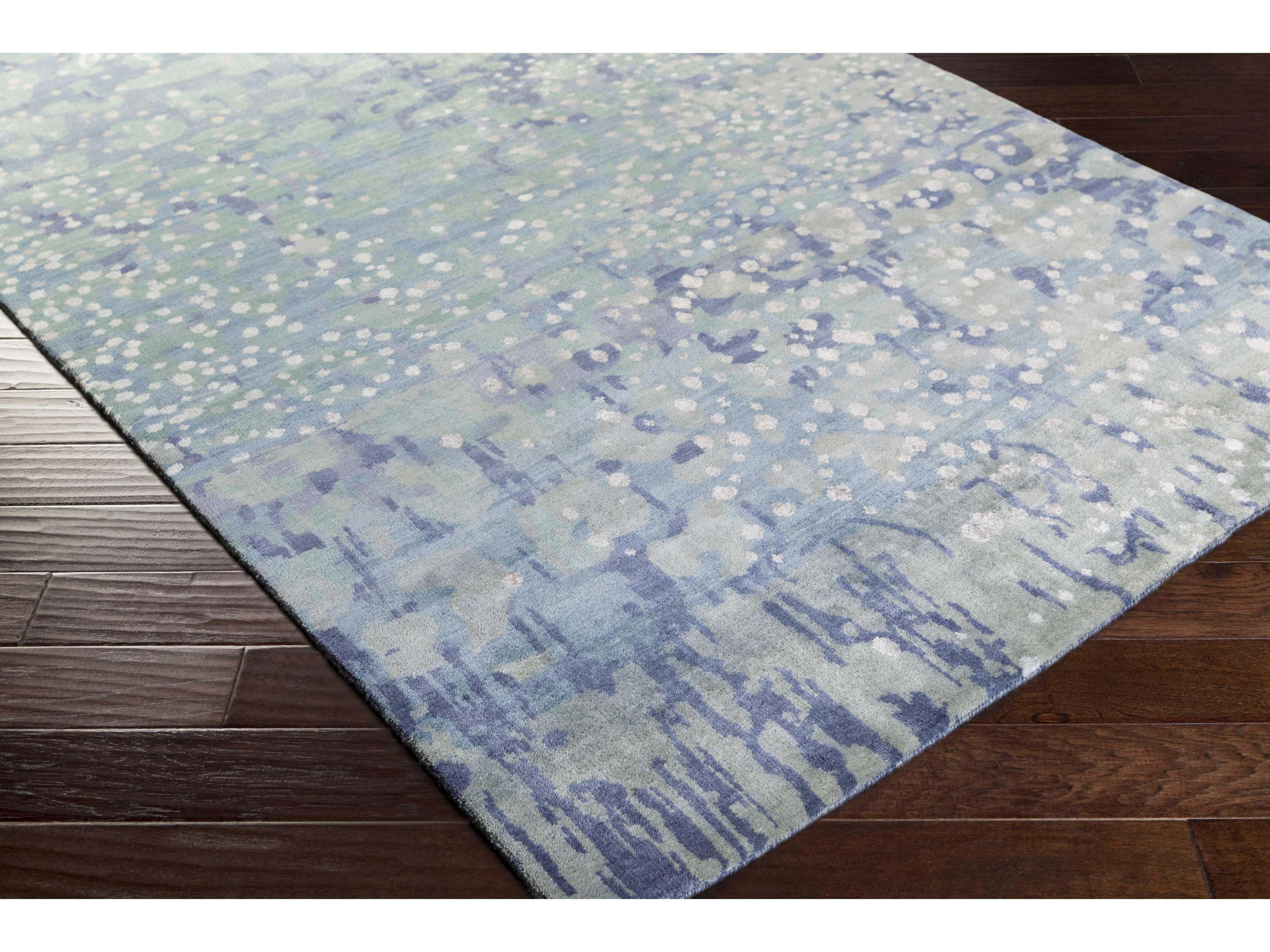 Surya Watercolor Rectangular Sea Foam Sky Blue Lime Area Rug In
