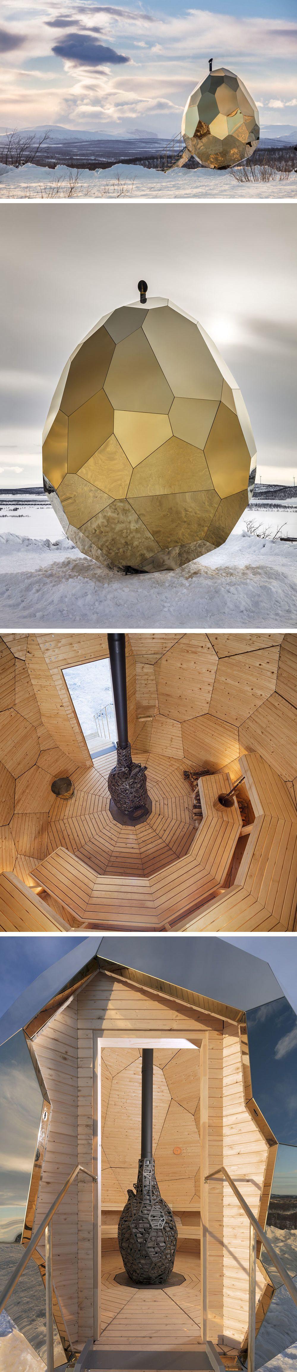 a mirrored golden egg sauna is hatched in sweden d co. Black Bedroom Furniture Sets. Home Design Ideas