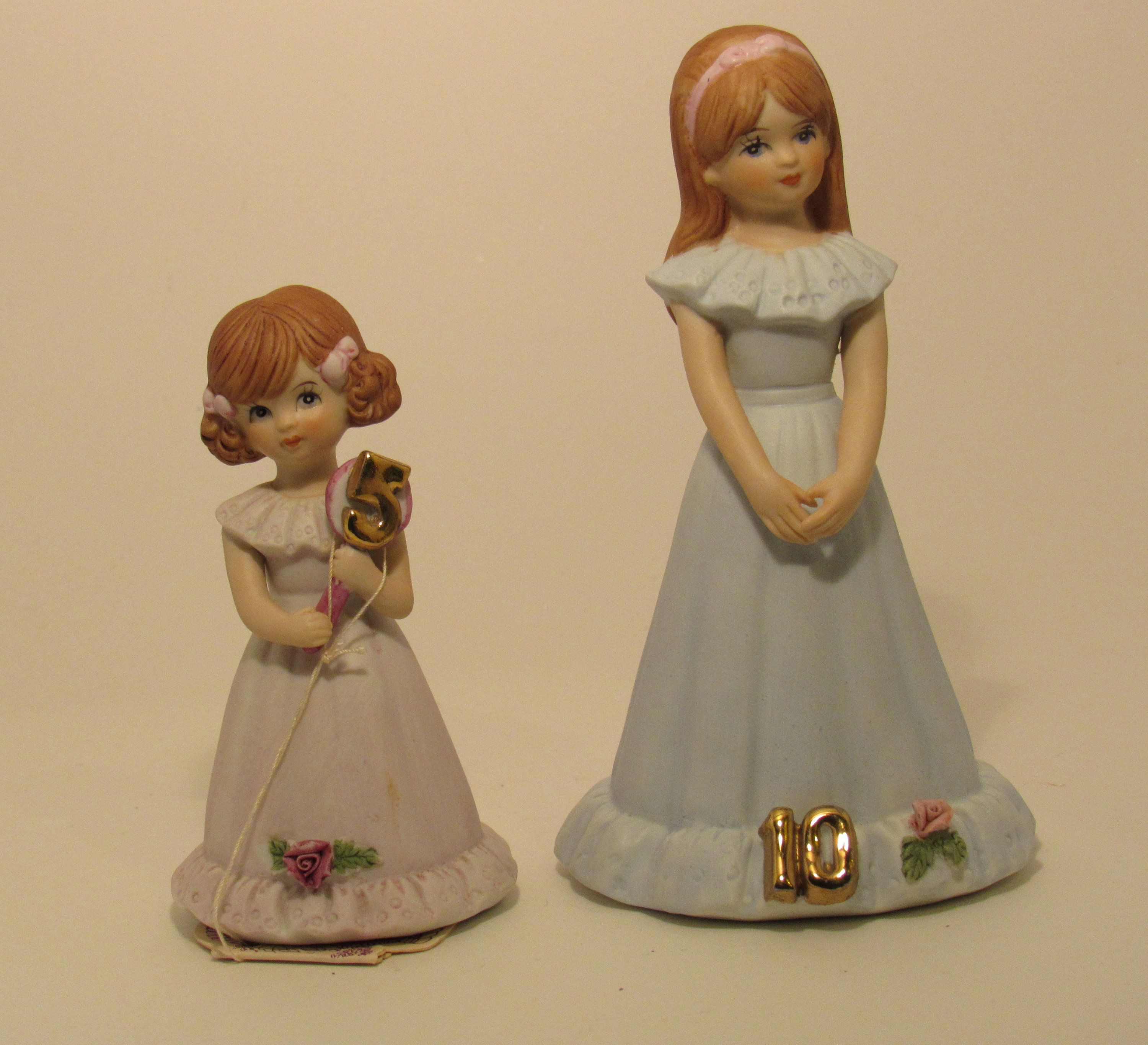 Growing Up Girls Old Face Paint Set of Two Ages 5 and 10 Enesco Birthday Dolls Brunettes #dollfacepainting