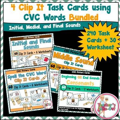 Clip It Task Cards using CVC Words Bundled from Teachers Take Out on TeachersNotebook.com -  - 240 Task Cards Plus 30 Worksheets to Practice CVC Words