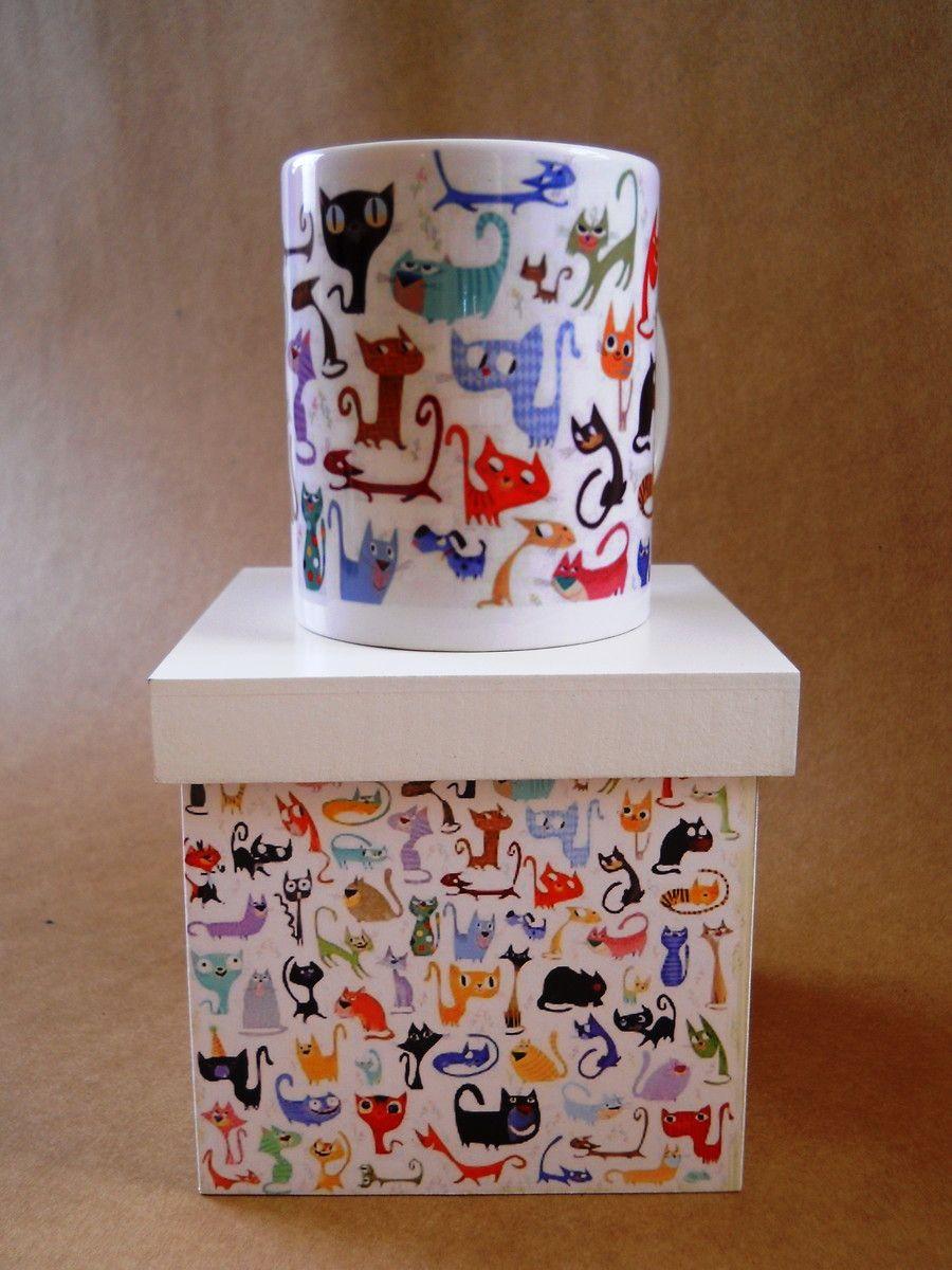 Caixa De Mdf 12 X 12 Decorada Com Gato Com A Caneca Combinando