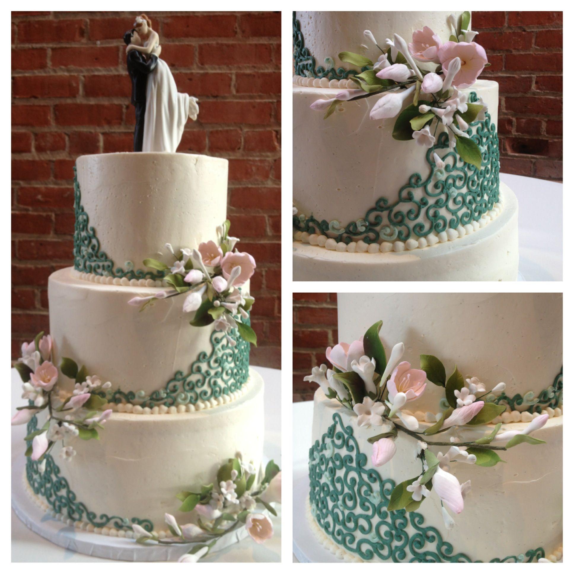 Elegant green and pink wedding cake Cake