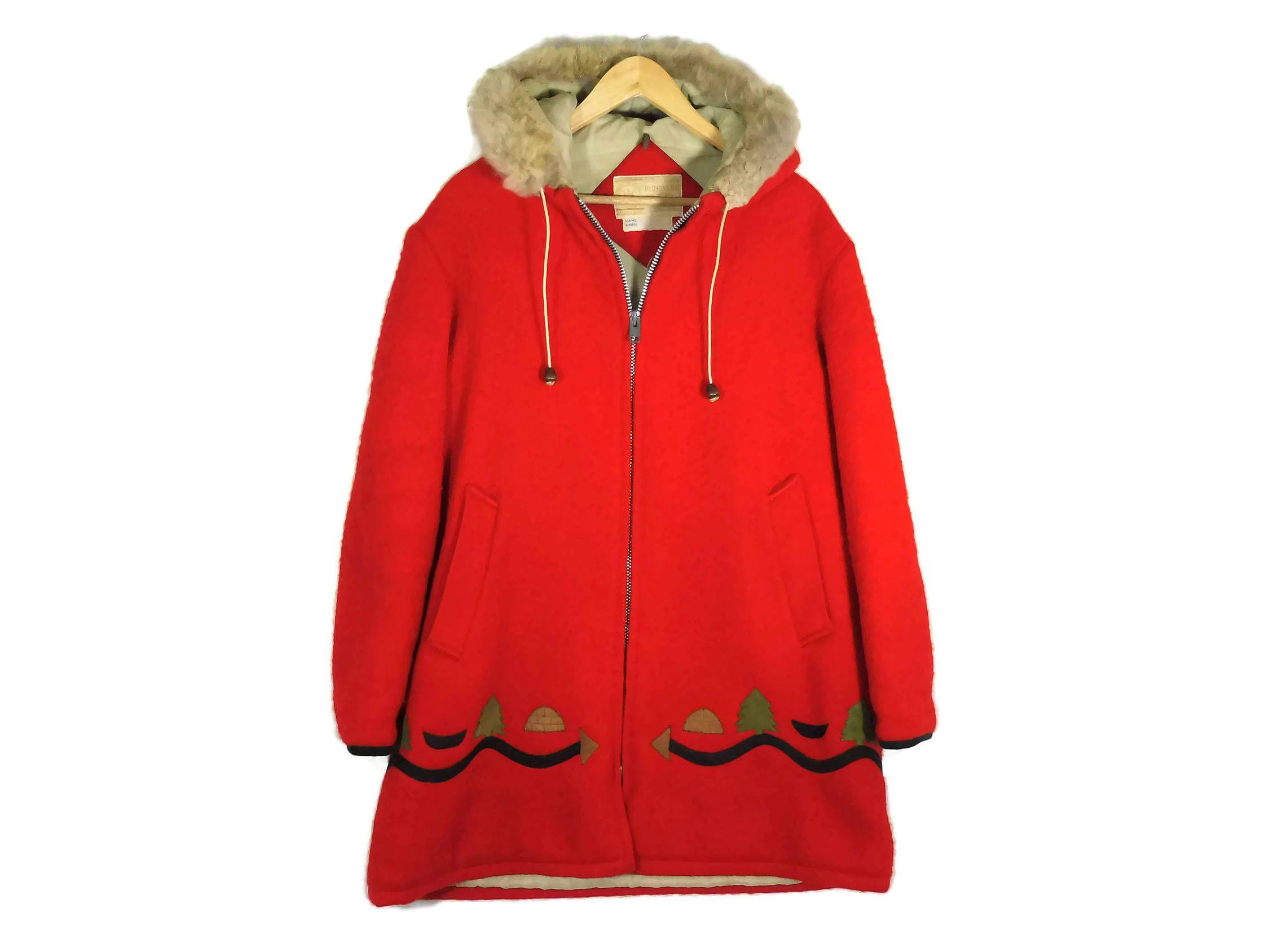 Vintage 1960s Hudsons Bay Red Parka Medium Wool Coat