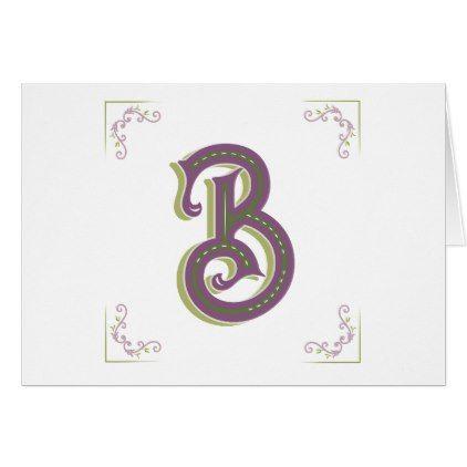 Monogram Letter B Elegant Vintage Style Card  Floral Gifts Flower