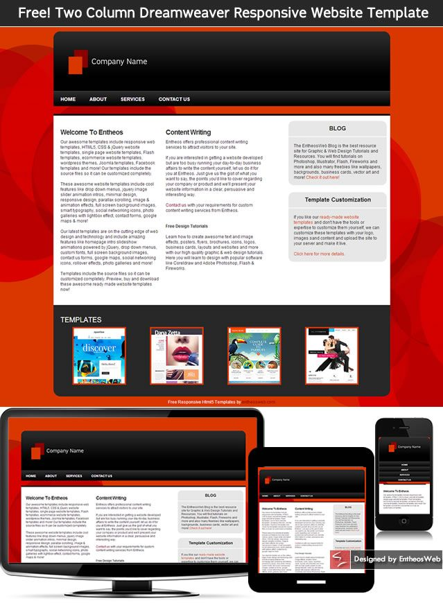 Free Two Column Dreamweaver Responsive Website Template