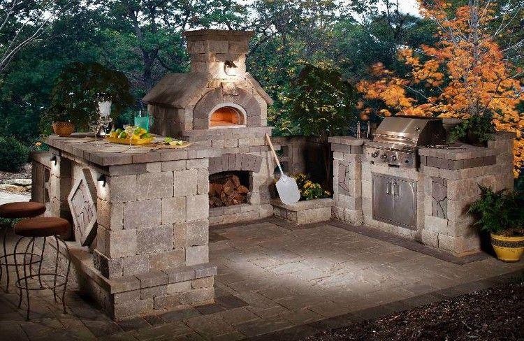 barbecue en pierre naturelle, dallage extérieur en pierre grise ...