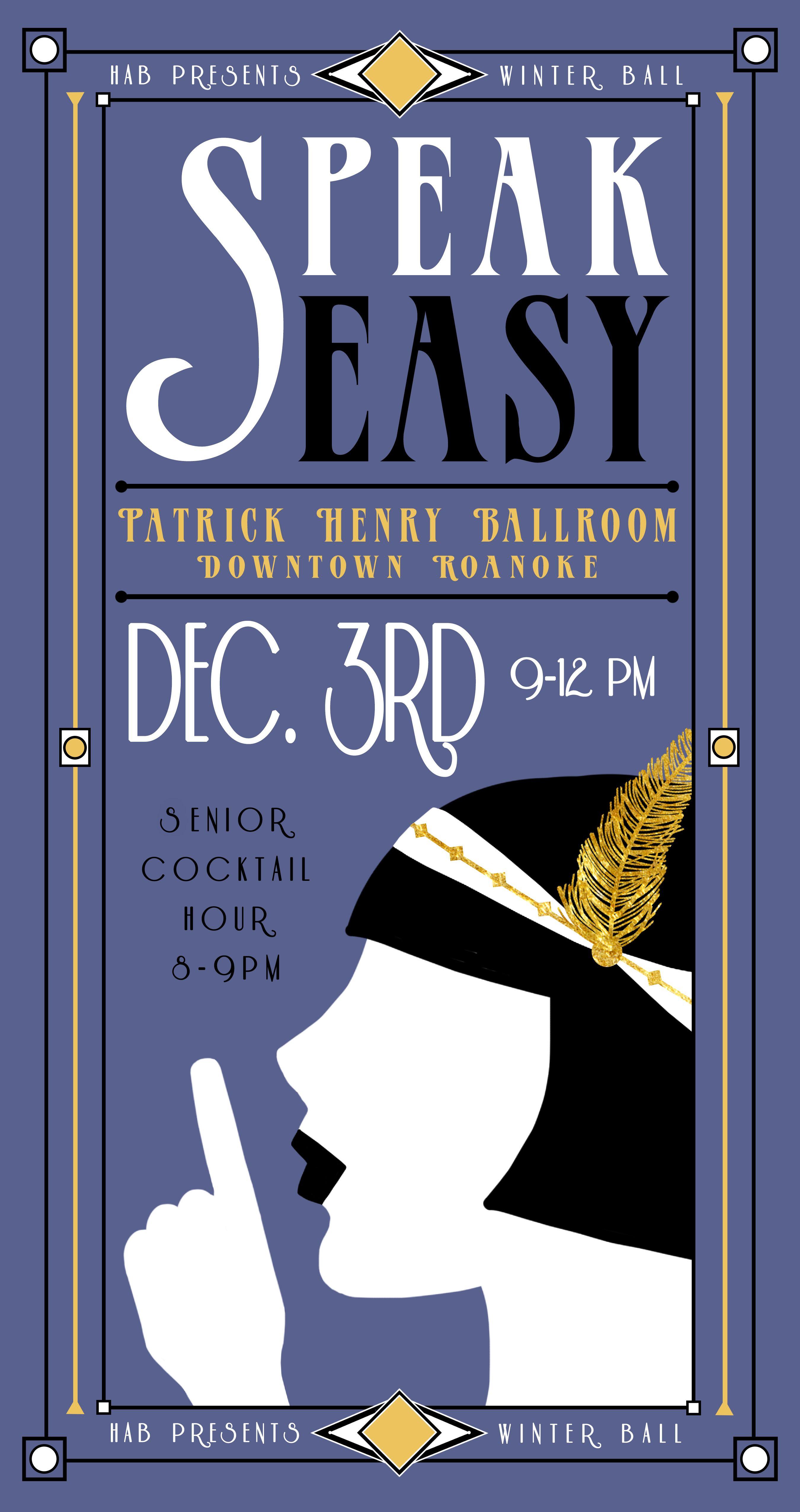 Speakeasy Poster for HAB at Hollins University © Megan