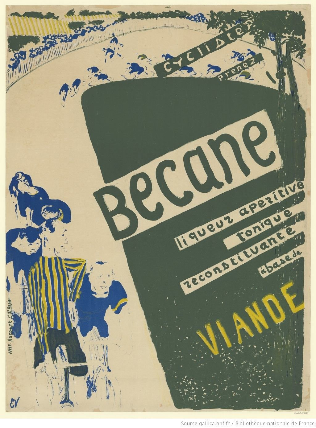 Edouard Vuillard 1868 1940 Cyclistes Prenez Becane Liqueur Aperitive Tonique Reconstituante Edouard Vuillard Lettering Bibliotheque Nationale De France