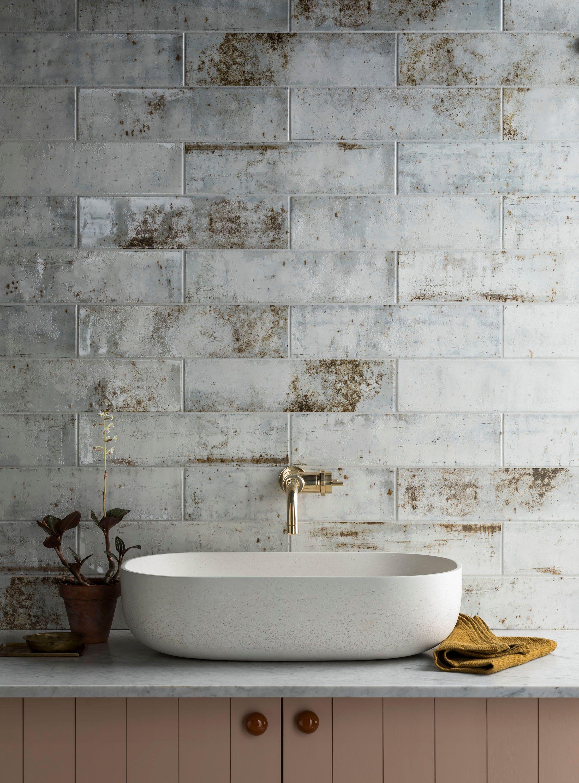 Camden White Ceramic Tile Mandarin Stone In 2020 Mandarin Stone White Ceramic Tiles Industrial Style Bathroom