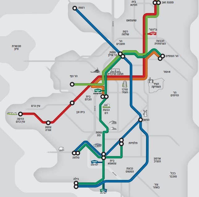 A map of the four planned Jerusalem light rail lines released by