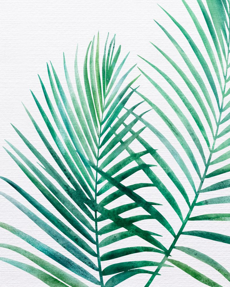 Emerald Palm Fronds Watercolor Mini Art Print By Moderntropical
