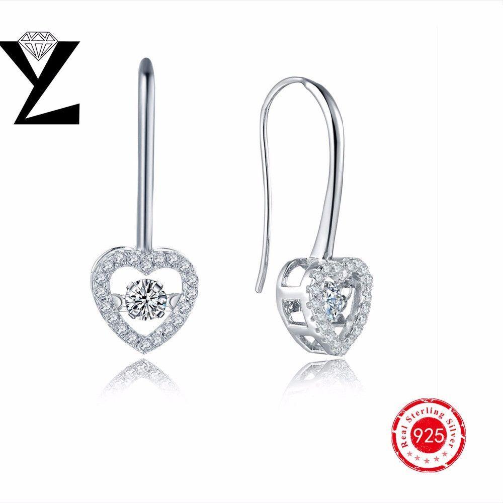 Heart Drop Dancing Cz Earring Set