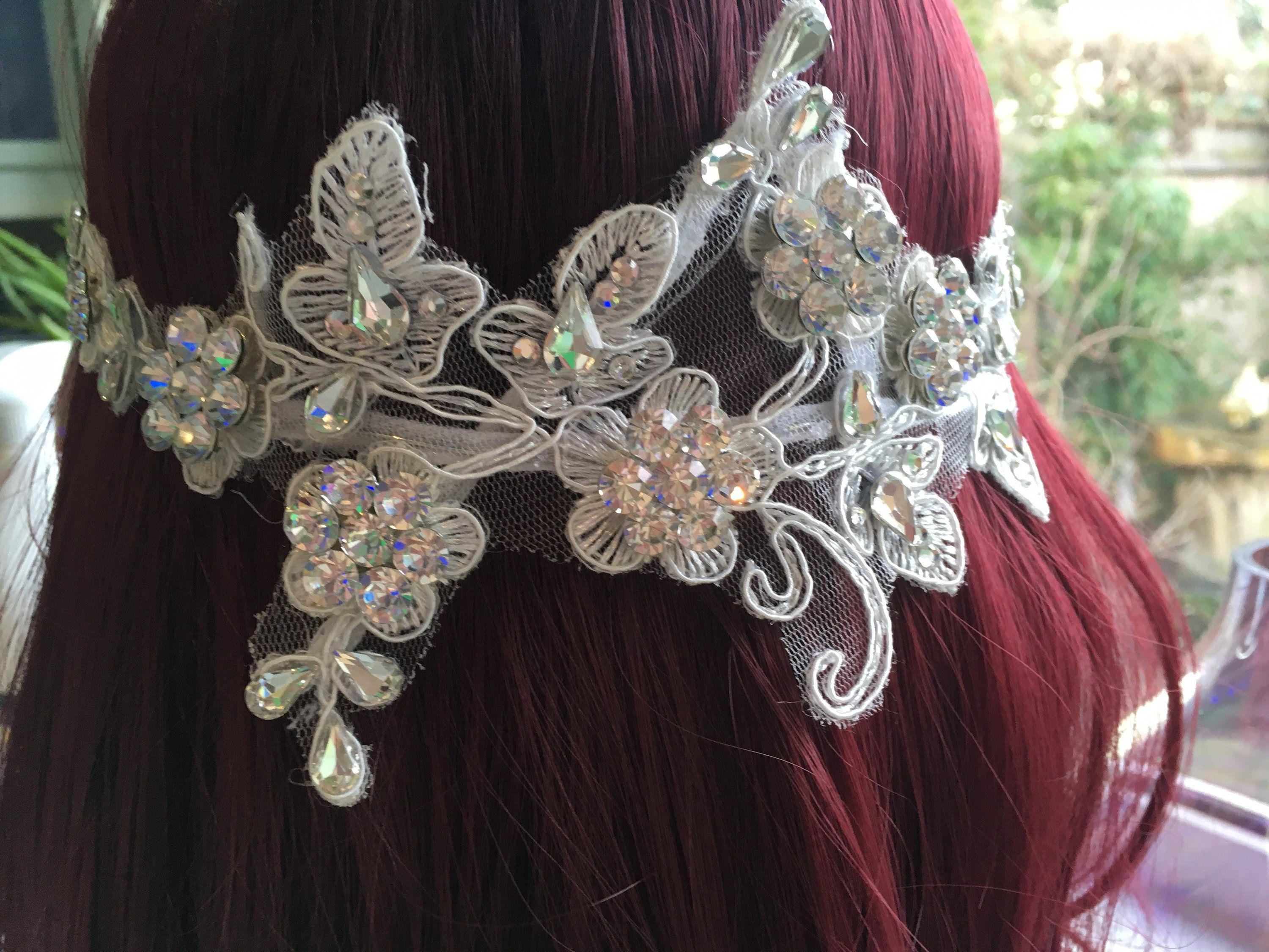 Wedding Headpiece Fascinator with Beaded Lace in White with Pearls and beads Lace Bridal Hair Comb