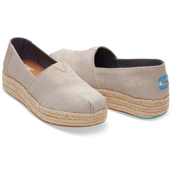 TOMS Natural Yarn Dye Women'S Platform Espadrilles Shoes ($74) ❤ liked on  Polyvore featuring
