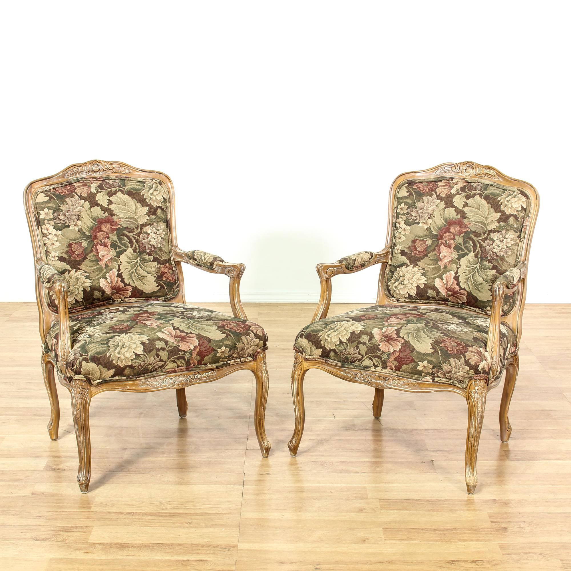 Pair Floral Louis Xv Style Accent Chairs
