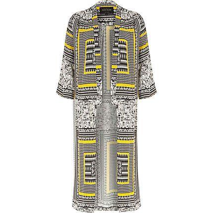Yellow crepe Aztec print duster kimono £55 #riverisland
