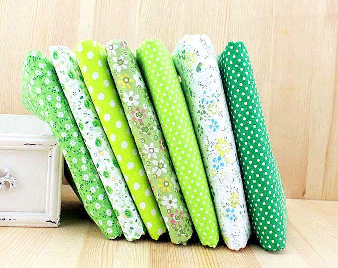 Resorte verde tela verde paquete flores tela algodón tela conjuntos para 7 para bolsa de tela acolchado 50X50cm bf14