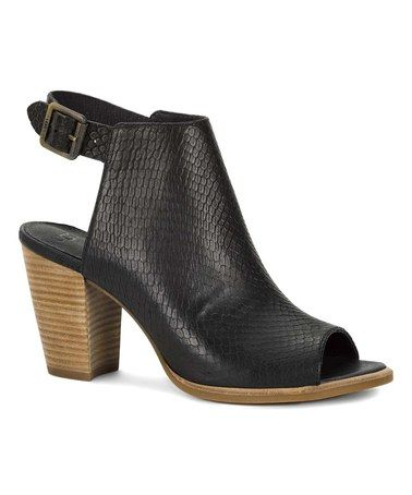 UGG Heels Shoes Womens - UGG Audrey Exotic Leather Black