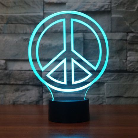 Peace 3d Illusion Lamp In 2020 3d Illusion Lamp 3d Led Lamp 3d Illusions