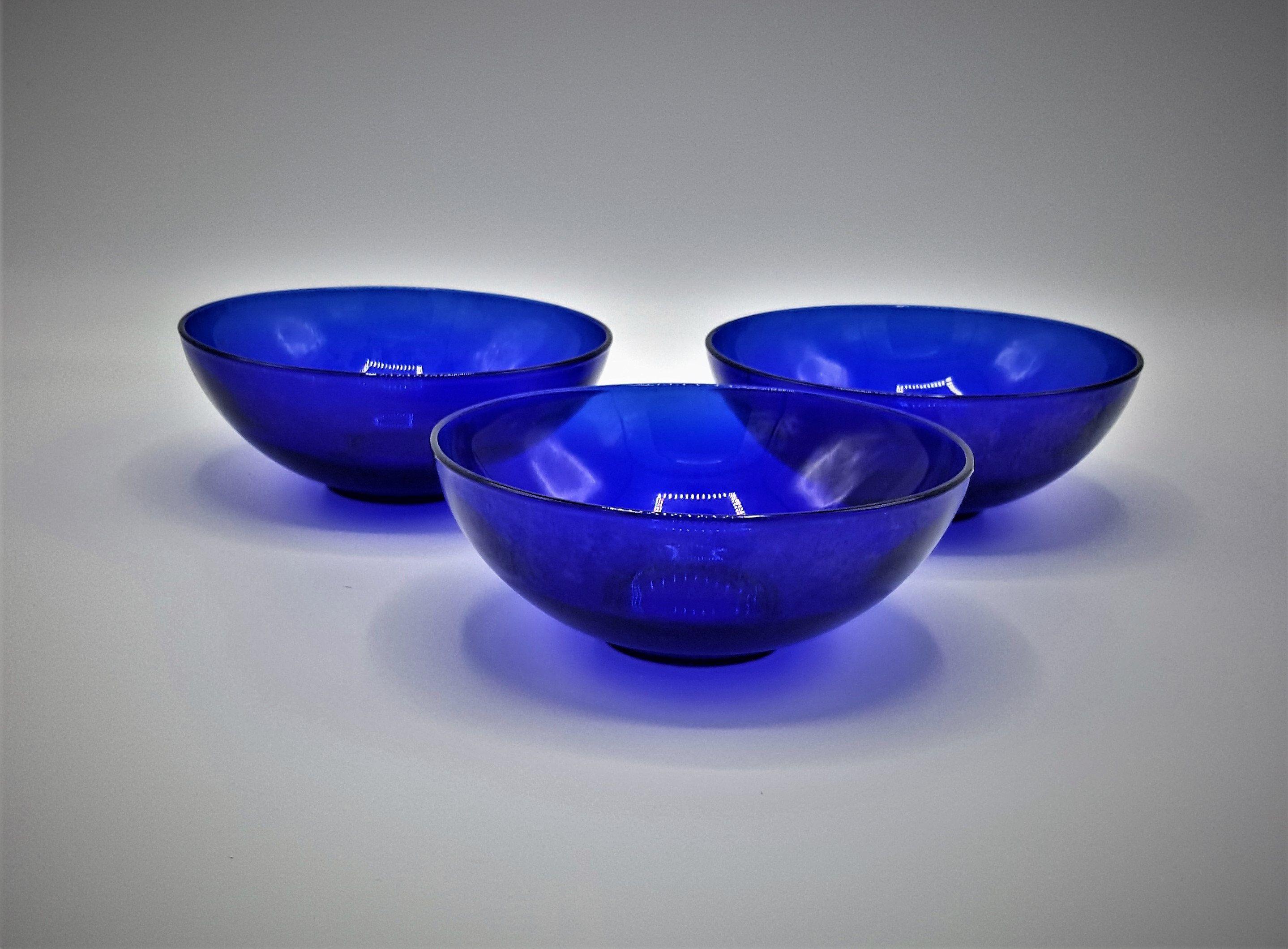 Vintage Cobalt Blue Soup Bowls Set Of 3 Vintage Blue Cereal Bowls