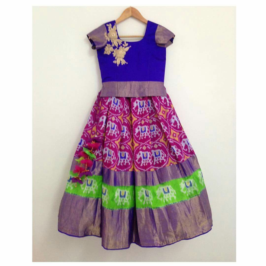 1af05473043b06 Ikkat pattu lehenga for kids