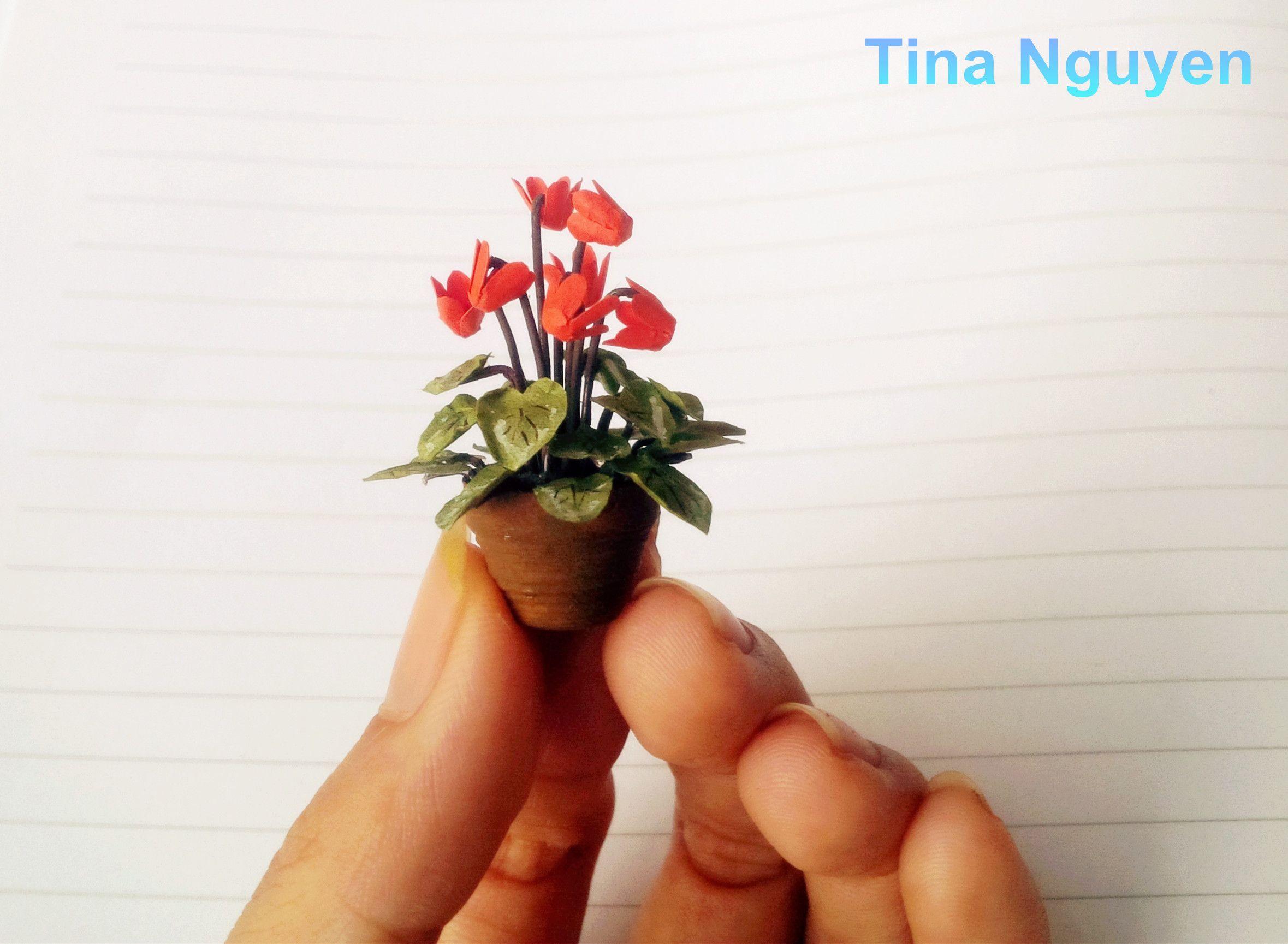 Miniature Cyclamen Paper Flowers Crepe Paper Flowers Paper