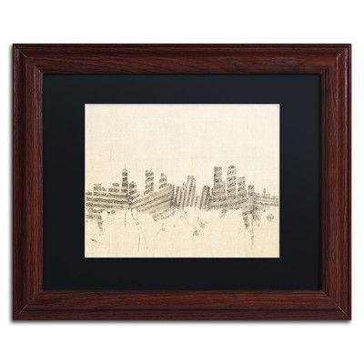 "Trademark Art ""Denver Skyline Sheet Music"" by Michael Tompsett Framed Graphic Art Size: 11"" H x 14"" W x 0.5"" D"