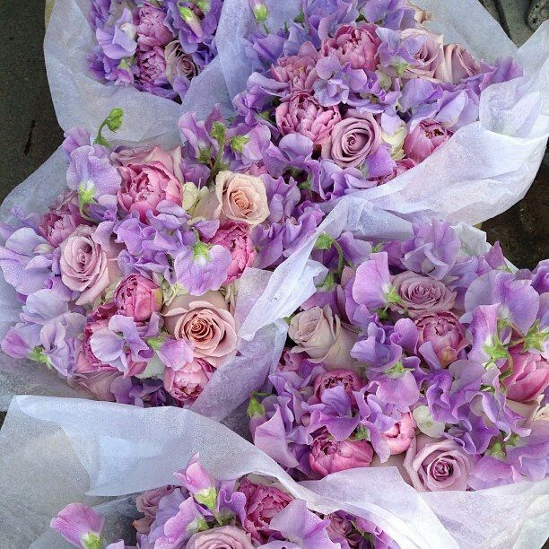 Lavender and pink bouquets