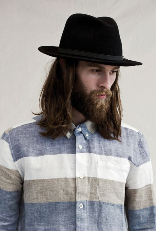 Boy Style Chambray Blue White Beige Taupe Buttoned Up Black Hat Wide Brim Repin Beard Styles Full Long Hair Styles Men Beard Styles