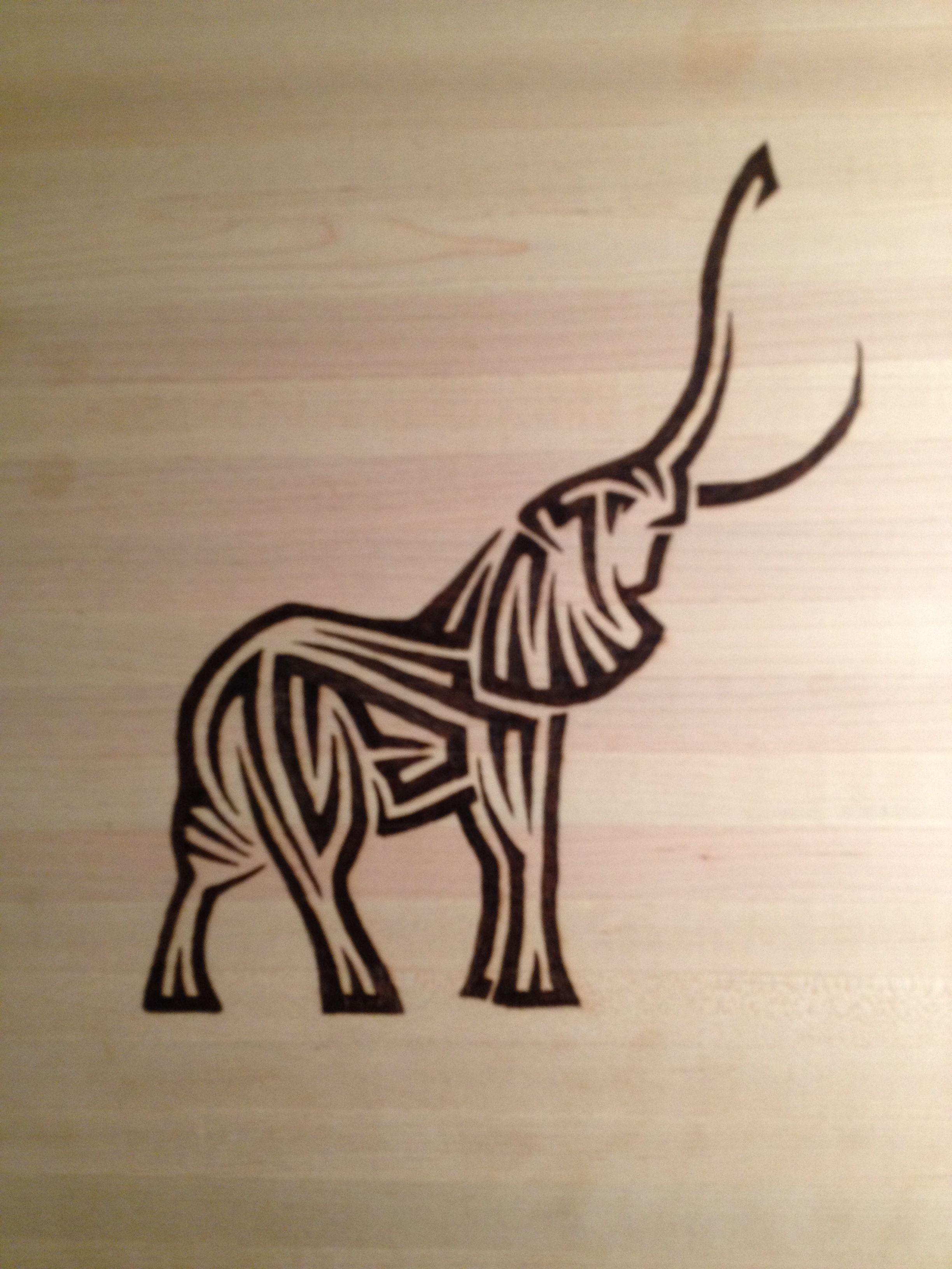 Tribal Elephant Wood Burning Art Wood Burning Art Wood