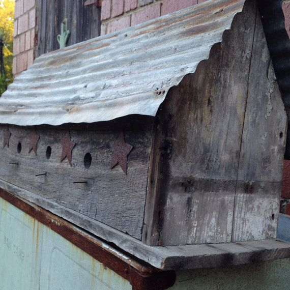 Best Large Rustic Birdhouse Made From Recycled By Milkweedvintagehome 85 00 Corrugated Metal Roof 400 x 300
