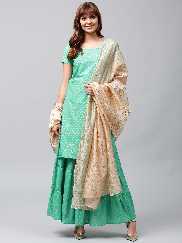 75958d4d53 Buy AKS Women Sea Green   Golden Printed Kurta With Skirt   Dupatta - -  Apparel for Women from AKS at Rs. 2199