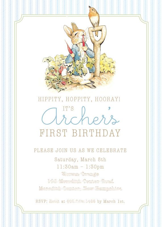 20 Peter Rabbit Christening Invitations Boy or Girl Blue//Pink