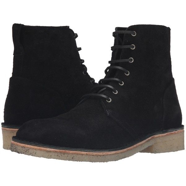rag & bone Military Lace Boot (Black Suede) Men's Lace-up Boots ($147) ❤  liked on Polyvore featuring men's fashion, men's shoes, men's boots, shoes…