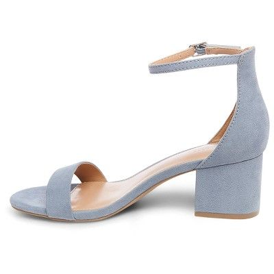 06f9e7dc9af Women s Marcella Low Block Heel Pumps with Ankle Straps Merona - Blue 6.5