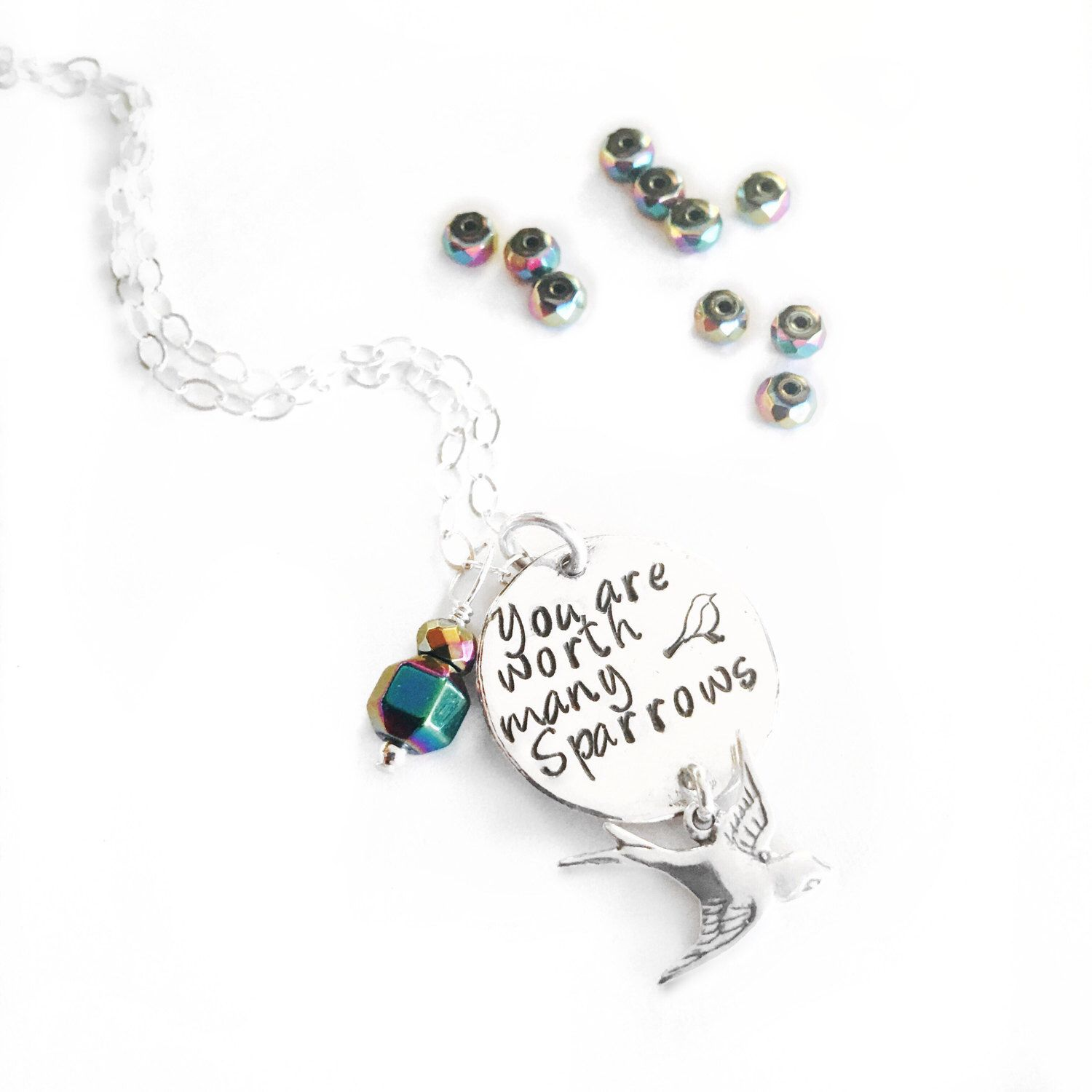 A personal favorite from my Etsy shop https://www.etsy.com/listing/515611165/silver-you-are-worth-many-sparrows