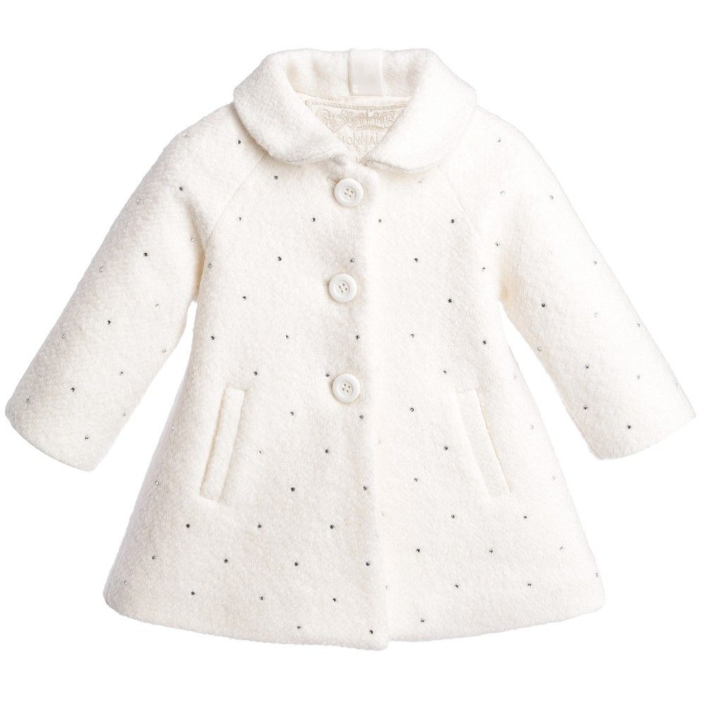 Baby Girls Ivory Wool Coat with Diamantés | Wool coats, Babies and ...