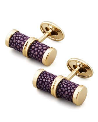 Stingray Bar Cuff Links Purple by Trianon at Bergdorf Goodman
