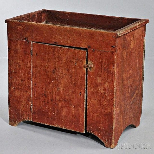 charming Antique Dry Sink For Sale Part - 10: Small Red-painted Pine Dry Sink | Sale Number 2824T, Lot Number 1155 |  Skinner Auctioneers