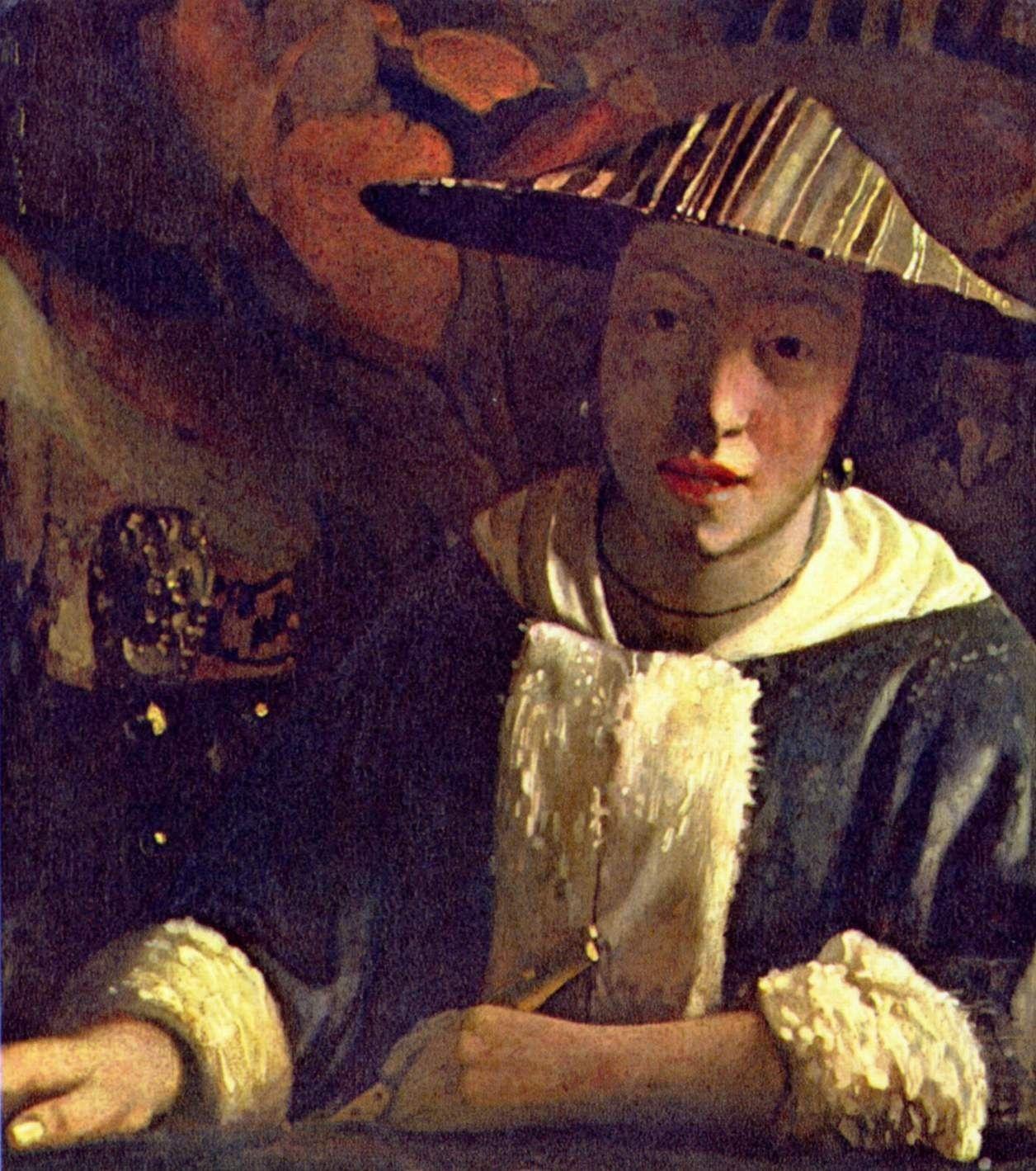 Genremalerei berühmt  Jan Vermeer van Delft. Mädchen mit Flöte. Um 1666, Öl auf Leinwand ...