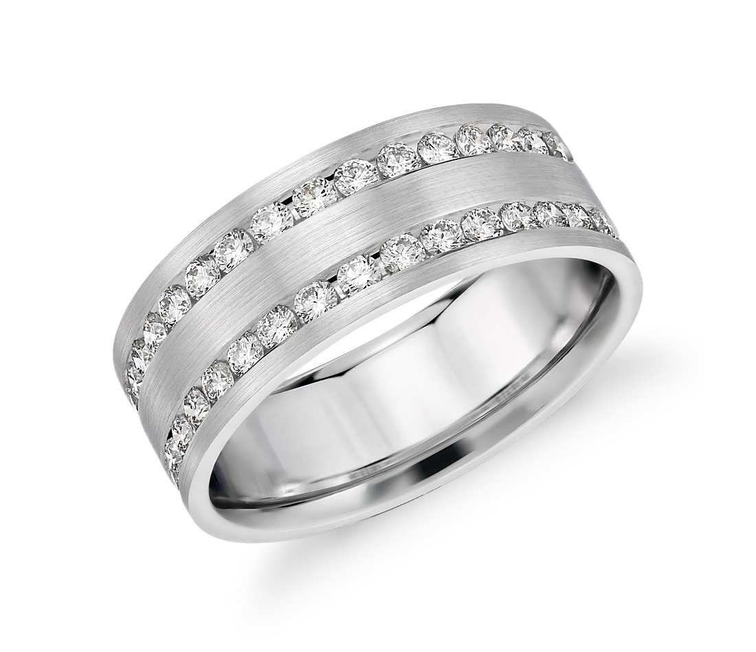 Double Inlay Diamond Wedding Ring In 14k White Gold 1 Ct Tw